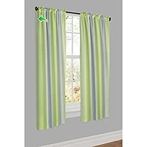Maytex Alva Thermal Shield Window Curtain Panel, 50 by 63-Inch, Lime