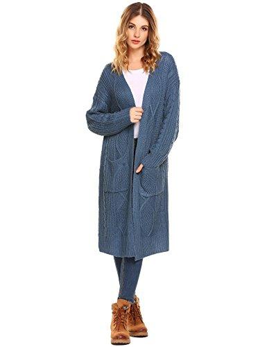 Chigant Damen Cardigan Sweater Open Front Strickjacke Loose Lang Mantel Casual mit Taschen