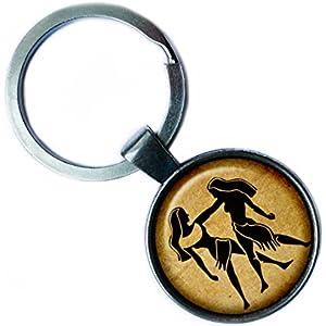 Zodiac Gemini Tierkreis Zwillinge Silver Keychain Silber Schlüsselanhänger