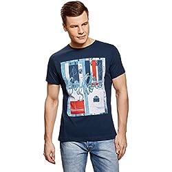 oodji Ultra Hombre Camiseta con Estampado, Azul, ES 52-54/L