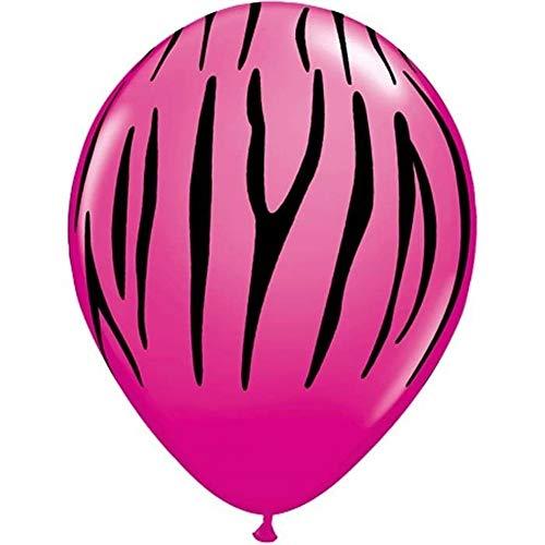 Nana' s festa di san valentino–6x palloncini 27,9cm (helium/air) (qualatex) love/hearts/rosso zebra stripes (wild berry)(125.