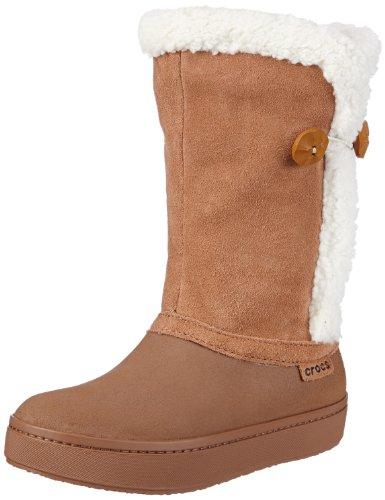 Crocs Winter Stiefel (Crocs Modessa Suede Button, Damen Schlupfstiefel, Braun (Bronze/Oatmeal), 36-37 EU)