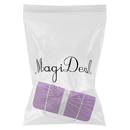 MagiDeal Borsa Donne Elegante per Partito Cerimonia Nuziale Matrimonio Cristallo Raso Plissettato Sera Pochette da Giorno - #3 #5