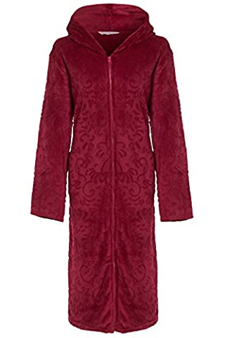 Ladies Hooded Full Zipped Dressing Gown Flannel Fleece Robe Embossed Pattern