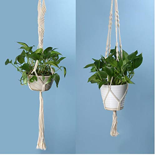 Oulensy 2 Größe Makramee Blumentopf Aufhänger-Halter Jute Seil Handgefertigte Hausgarten-Dekoration Hängen Blumen Pflanzen anzeigen