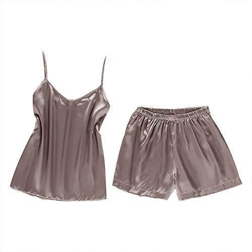Damen Sexy Pyjamas FGHYH Frauen Sexy Satin Fashion Solid Sling Nachtwäsche Dessous Unterwäsche Nachtwäsche Set(L, Rose Gold) - Rose Flanell-pyjama