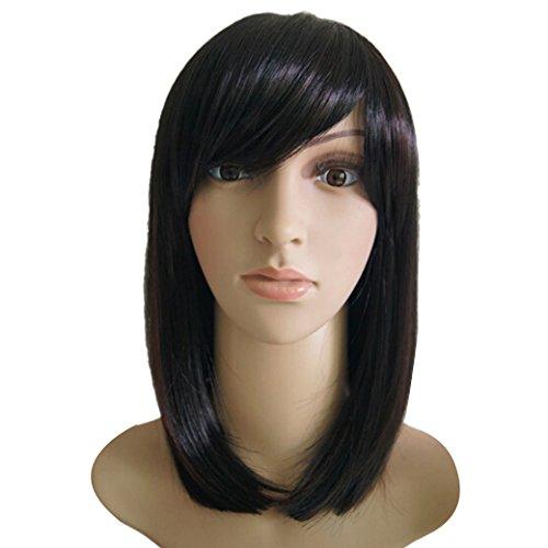 Tangda®-Perruque Cheveux Bob Lissé Mi-long Raide Noir Femme Naturel- Frange -Avec Filet et Peigne