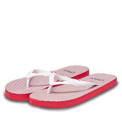 ONLY - Infradito donna fiona stripe flip flop 15131357 Rosso