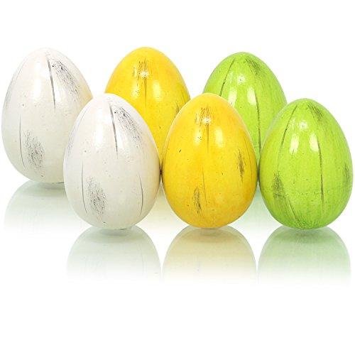 COM-FOUR® 6x d'oeuf en céramique en vert, jaune et blanc, céramique aux œufs de Pâques, décoration pour Pâques, 6,5 cm (06 pièces - oeuf en céramique petit)