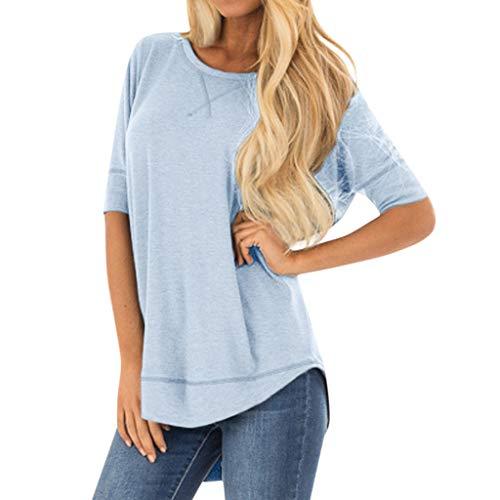 Zegeey Damen T-Shirt GroßE GrößEn Einfarbig Rundhals Basic Top Oberteil Blusen Tops Shirts Tunika Schicker Elegant LäSsige Lose(Blau,EU-36/CN-S)