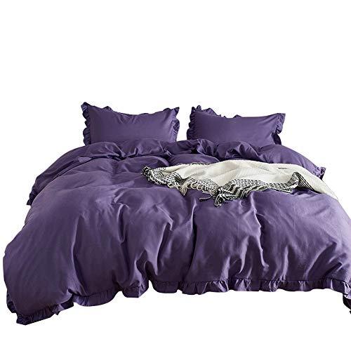 Luofanfei Violett Bettwäsche 200x200cm Rüschen Uni Bettbezug 3 Teilig Lila Einfarbig Wendebettwäsche Microfaser Top Qualität (Rüschen Bettbezug Lila)