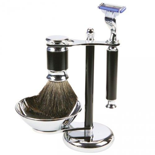 Set complet de rasage à main avec rasoir, blaireau et bol