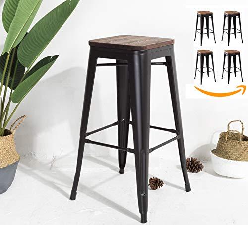 JA STORE FR - Hocker Factory Metall schwarz matt und Sitzfläche aus Holz, Höhe 76 cm