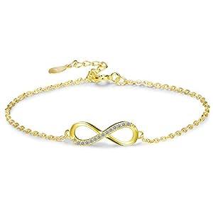 BE STEEL 925 Sterling Silber Armband Infinity für Damen Mädchen Liebe Armband Kette Fußkettchen mit Zirkonia mit Box Geschenk Jahrestag