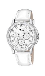 Reloj analógico Lotus 15746/1 de cuarzo para mujer, correa de cuero color blanco (agujas luminiscentes)