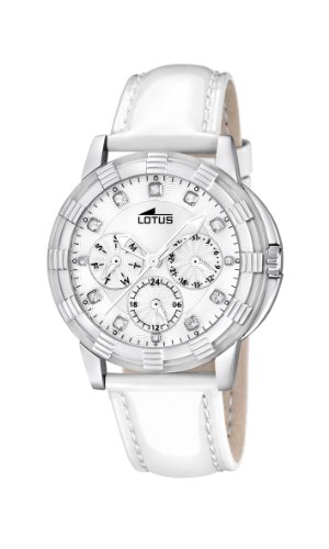 Lotus Women's Quartz Watch with White Dial Analogue Display and White Leather Strap 15746/1
