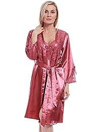 BellisMira Camisones De Las Mujeres Largo De Seda De Hielo Sexy Nightclothes y Kimonos de Satén Bata De Baño para La Novia Vestido…