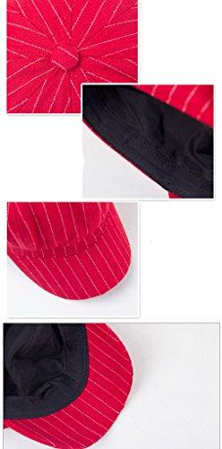 Smile YKK Béret Casquette Femme Hiver Coton Style Vintage Rayure Noir