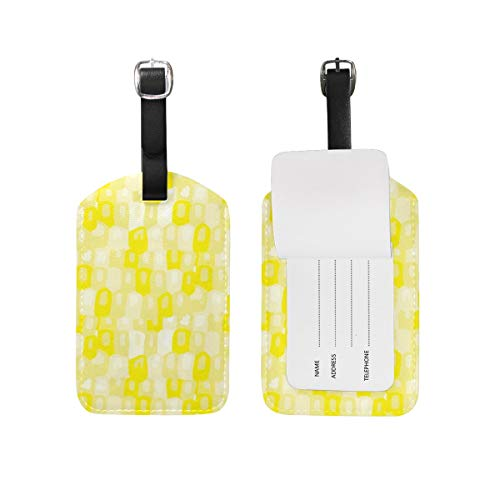 Pastel Yellow Label (Luggage Tags 2 Pieces Set Lemon Yellow Pastel Lights Abstract Watercolor Dots Spots Modern Sun Summers Flexible Travel ID Identification Labels Set for Bags & Baggage)