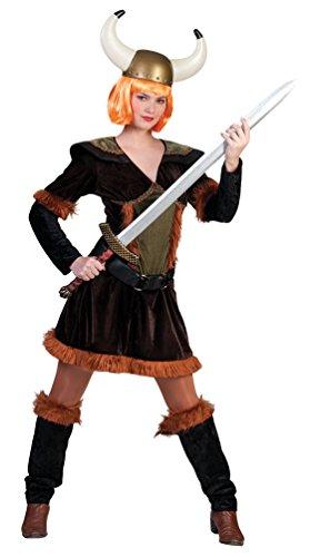 Karneval-Klamotten Wikinger-Kostüm Damen Wikinger Kostüm Barbarin mit Beinstulpen Damen-Kostüm Größe 44/46 (Barbar Kostüm)