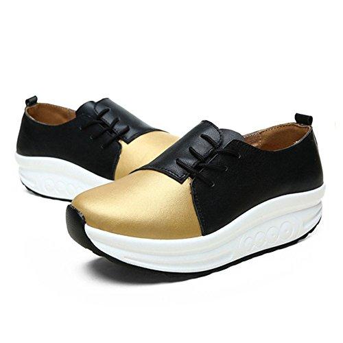 JRenok Chaussure de Sport Femme Baskets Mode Running Multisport Outdoor Lacet Cuir Sneakers Haut Casual Antidérapantes 34-40 Or