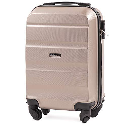 VINCI LUGGAGE Geräumiger Kabinentrolley - Leichter Flugzeugkoffer - Luxuriöser und moderner Koffer mit zweistufigen Teleskopgriff und Kombinationsschloss (Champagne, XS 51x33x20)
