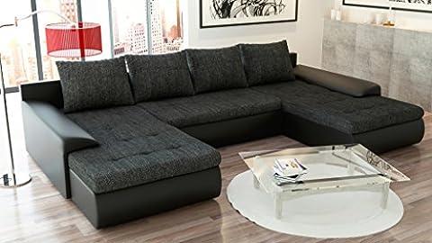 Canapé panoramique convertible et réversible JOYU tissu noir