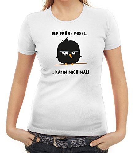 Morgenmuffel Damen T-Shirt mit Mad Bird - der frühe Vogel Motiv von ShirtStreet Weiß