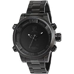 Shark Mens SH364 Analog LED Display Alarm Date Day Display Stainless Steel Quartz Watch