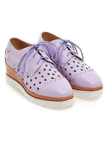 ZQ Scarpe Donna - Stringate - Casual - Tacchi / Punta arrotondata - Zeppa - Finta pelle - Blu / Viola / Bianco / Beige , white-us8.5 / eu39 / uk6.5 / cn40 , white-us8.5 / eu39 / uk6.5 / cn40 white-us9 / eu40 / uk7 / cn41