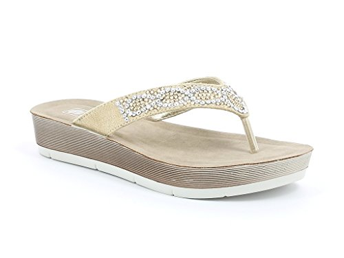 Femmes Dames Cristal Détaillé Toe Post Tous les jours Poids léger Confort Casual Enfiler Talon compensé Sandals Chaussures Taille Or