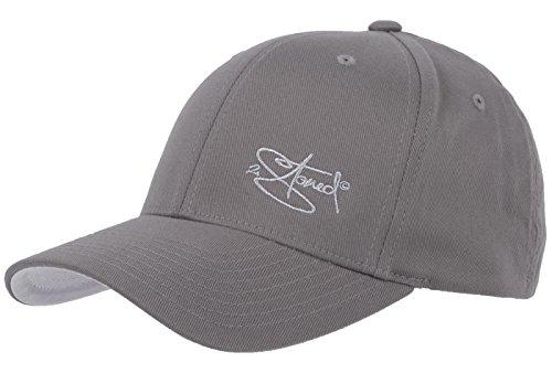 2Stoned Flexfit Cap Wooly Combed Grau mit Stick, Größe S/M (56 cm - 58 cm), Basecap für Damen und Herren