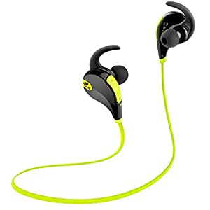 SoundPEATS QY7 Bluetooth 4.1 Wireless Sports Headphones Running Gym Exercise Sweatproof Headsets In-ear Stereo Earbuds Earphones with Microphone (Black/Green)