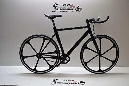 Cicli Ferrareis Bici Bicicletta Fixed Bike Nera e Bianca a Razze in Alluminio Single Speed Scatto Fisso Personalizzabile