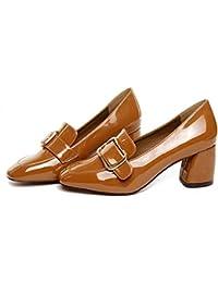 2017 zapatos nuevos solos zapatos de hebilla cuadrada cuadrada de tacón alto con los zapatos ocasionales gruesas , brown , 5.5