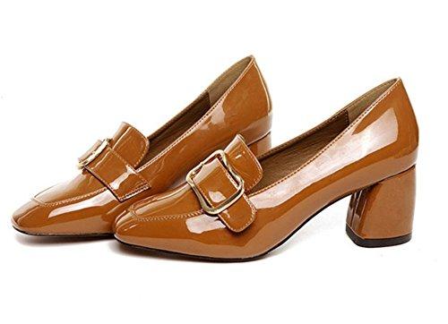 2017 nouvelles chaussures boucle carrée unique carré chaussures à talons hauts avec des chaussures de sport épais Brown