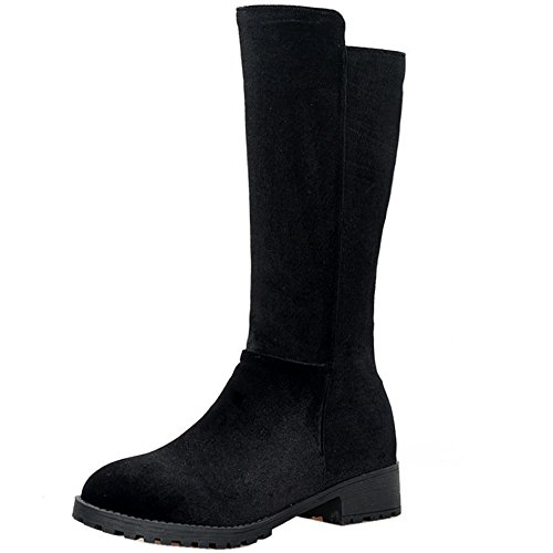 TAOFFEN Damen Mode Casual Mid Boots Halbe Stiefel mit Flach Black Size 34 Asian (Stretch-mid Calf Boot)