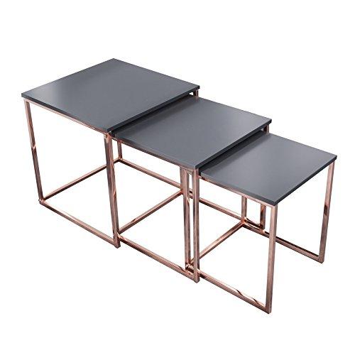 Invicta Interior Design Beistelltisch 3er Set FUSION anthrazit kupfer Satztische Couchtisch Tischset Wohnzimmer Couchtische Tische