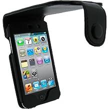 igadgitz Nero Vera Pelle Custodia Case Cover Protezione per Apple iPod Touch 4G + Protettore schermo & Clip cintura