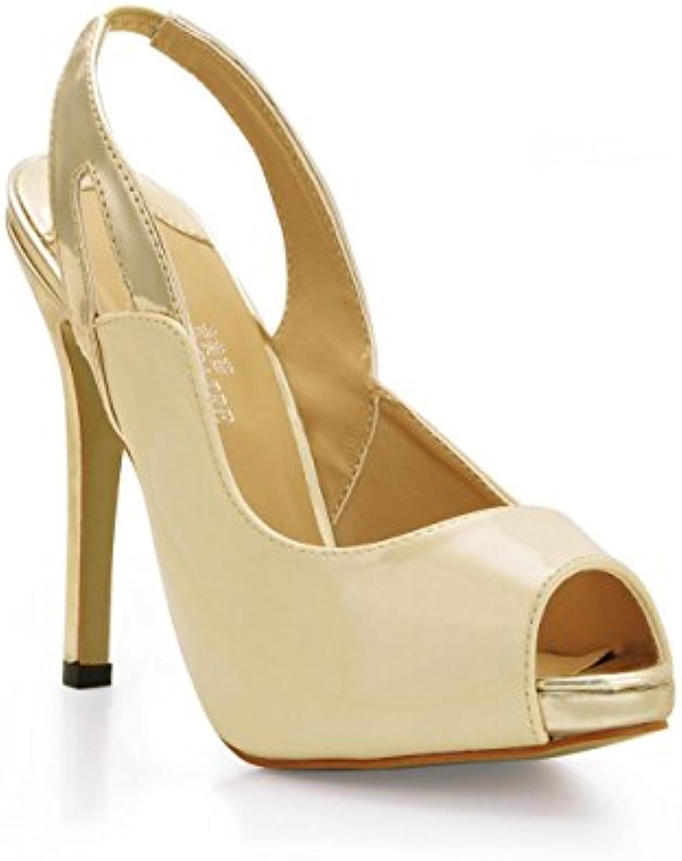 Best 4U® Frauen High Heels Stiletto Slingback Lackleder Gummisohle Peep Toe 11cm Absatz 1cm Plattform Frühlingö