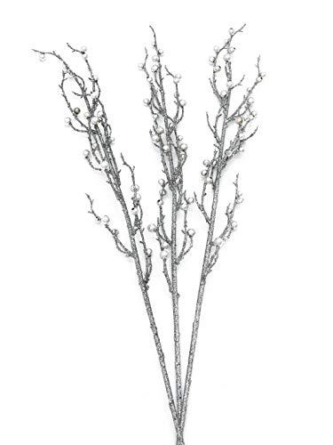 artplants.de Deko Beerenzweig in Silber, Glitzer, Set, 3 Stück, 85cm - Künstlicher Zweig - Weihnachtsdekoration