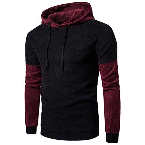 Koly Uomo manica lunga Giacca cucito con cappuccio Outwear Top Sport Jacket Black