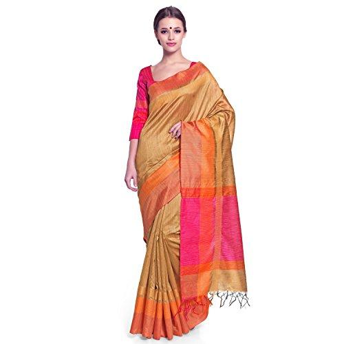 Bhelpuri Women Copper Tussar Silk Zari Woven Saree