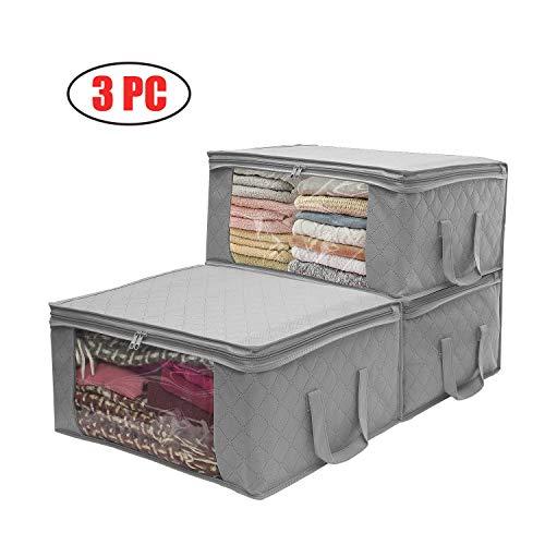 3 contenitori per indumenti, grande capacità, in carbone di bambù trapuntati con grande finestra trasparente per piumoni, coperte, lenzuola, piumini, vestiti, trapunte, cuscini, maglioni.