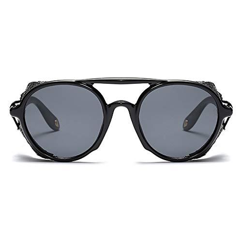 GAOHAITAO Steampunk Männer Sonnenbrille Mit Seitenschutz Sommer Stil Leder Runde Sonnenbrille Für Frauen Retro Uv400,EIN