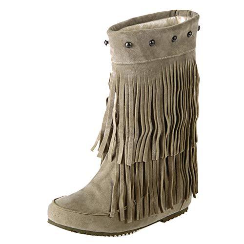 TAOFFEN Stiefeletten Damen Retro Ankle Boots Mokassin Stiefel Flach Kurzschaft Stiefel Quasten Booties Beige-Rongli Gr 39 Asian