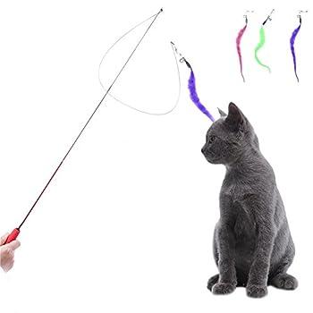 taonmeisutm Baguette rétractable Pet jouet pour chat avec plumes Jouet interactif amusant Jouets Teaser Cat Catcher Canne à pêche télescopique canne Jouet pour chat Kitty Animaux