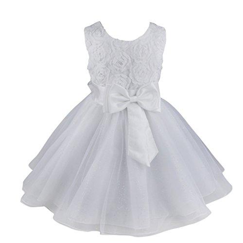 FEESHOW Kinder Mädchen Prinzessin Kleid Abendkleid Tüll Rock mit 3D Blumen und Schleife Gürtel für Blumenmädchen Hochzeit Taufe Weiß 98-104/3-4 Jahre