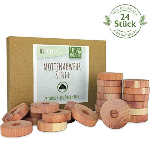 HI HONEY Natürlicher Mottenschutz aus Zedernholz [24 Stück] - effektive Mottenabwehr für Kleiderschrank - chemiefrei & biologisch abbaubar - Wiederverwendbare Mottenfalle