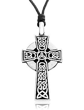 Llords Schmuck keltisches Kreuz Anhänger Halskette in irischem Knoten Design, feinster Zinn Metall Modeschmuck
